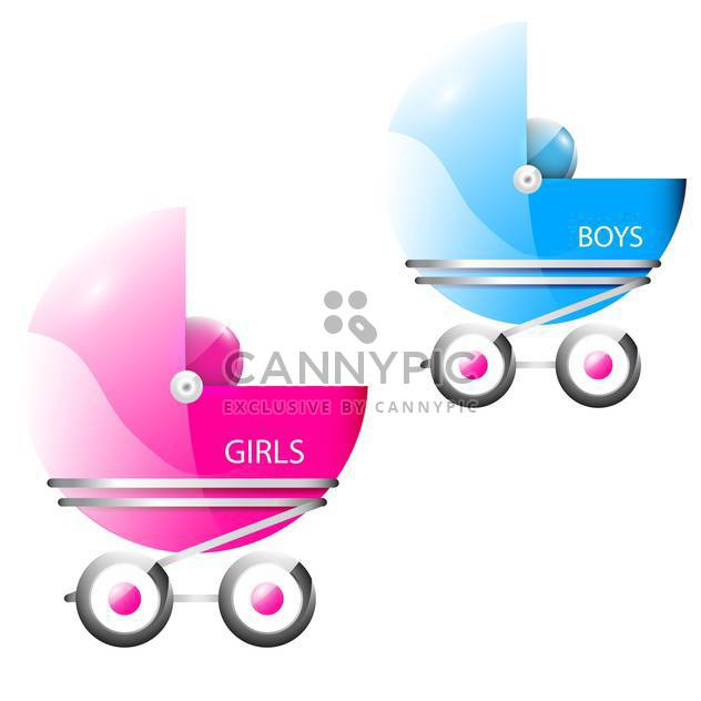 Vector illustration of pink and blue baby strollers isolated on white background - Free vector #129813