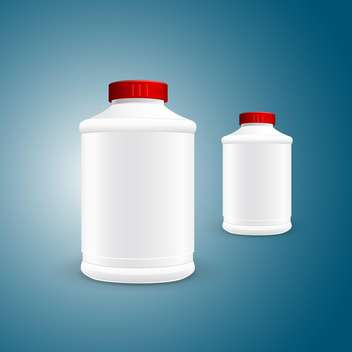 Vector illustration of two white plastic jars on green background - vector gratuit #129853
