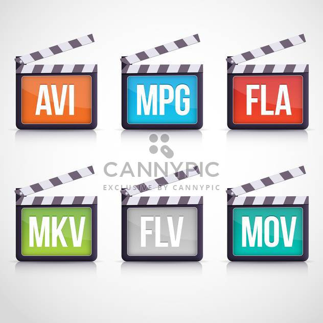 Colorful vector video set of multimedia clapboard icons - Free vector #129893