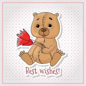 Vector greeting card with bear, flowers and Best Wishes inscription - бесплатный vector #129903