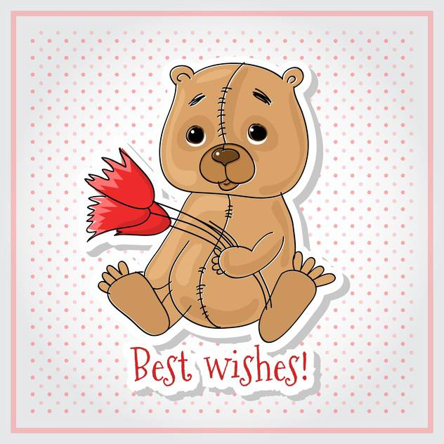 Vector greeting card with bear, flowers and Best Wishes inscription - vector gratuit #129903