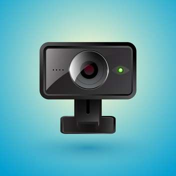 Vector illustration of realistic webcam on blue background - vector gratuit #129923