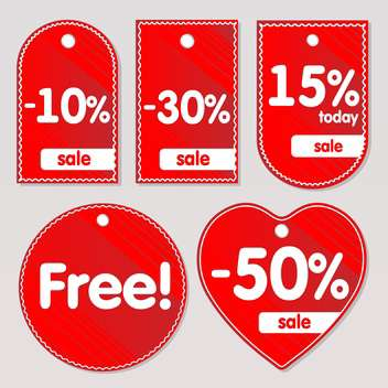 Vector illustration of red sale labels - vector gratuit #129973