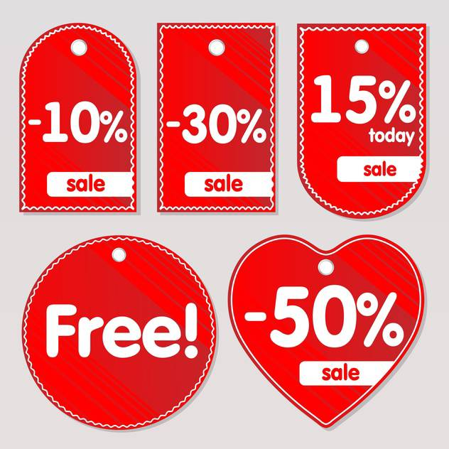 Vector illustration of red sale labels - бесплатный vector #129973