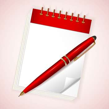 Vector illustration of red notebook with pen on light pink background - vector gratuit #130003