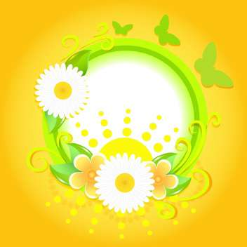 Spring frame with flowers and butterflies on yellow background - Free vector #130053