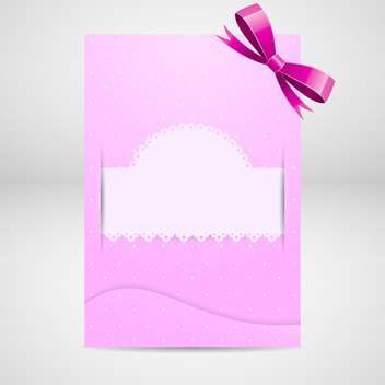 Pink greeting card with bow on grey background - Free vector #130083