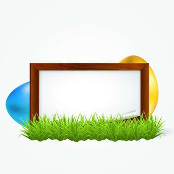 Easter greeting card with empty frame and painted Easter eggs - Free vector #130113