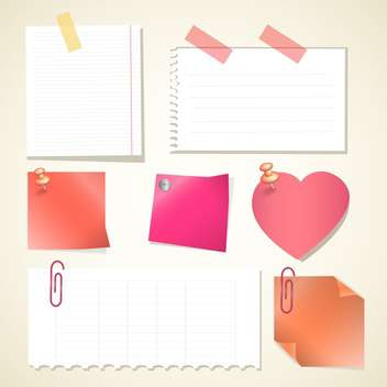 Push pin collection with set note papers - vector #130173 gratis