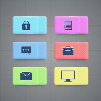 business and office icons set - vector gratuit #130343