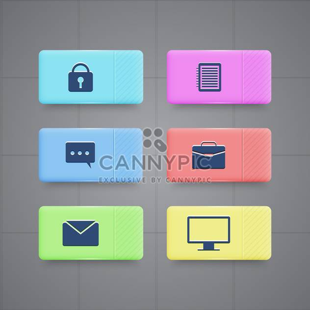 business and office icons set - Free vector #130343