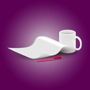 Vector piece of paper and a cup - vector gratuit #130443