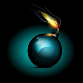 Vector bomb icon, on black background - Free vector #130463