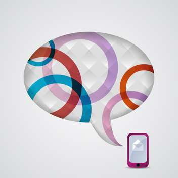 Vector illustration of mobile phone and speech bubble - Free vector #130523