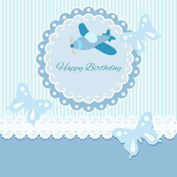 Vector Happy Birthday blue card with plane and butterflies - vector gratuit #130553