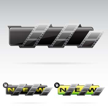 black banners with film tape on grey background - vector gratuit #130633