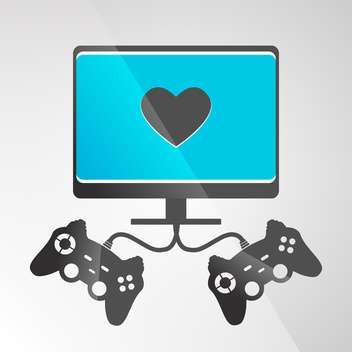 vector illustration of video game console on grey background - vector gratuit #130653