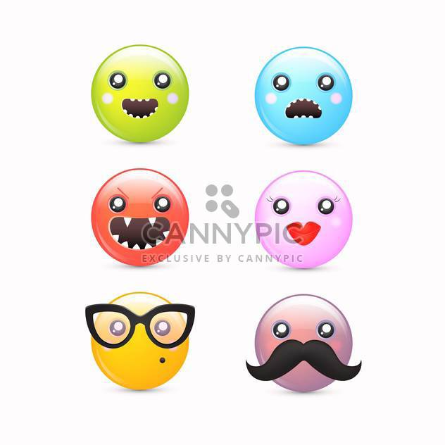Vector cartoon smileys icon set - Free vector #130693