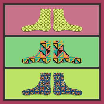 vector colorful card with funny socks - vector gratuit #130713