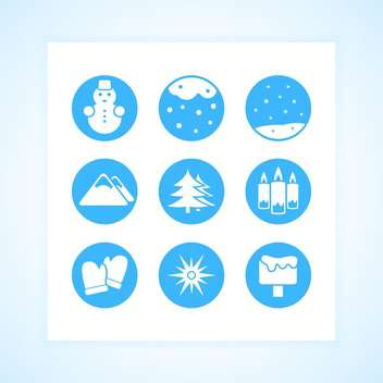 Winter round shaped icons set on white background - vector gratuit #130743