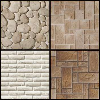 vector set of stone wall seamless patterns - vector gratuit #130803