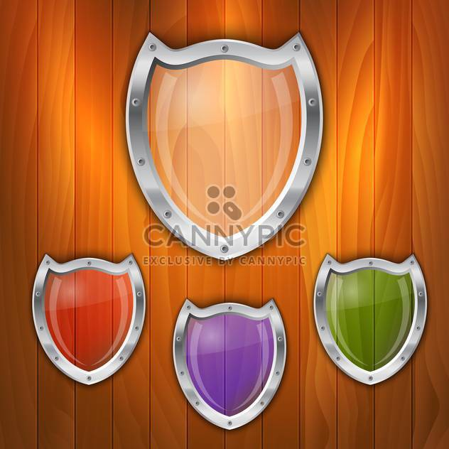 Vector set of glass shields on wooden background - Free vector #130843
