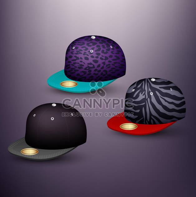 set of baseball caps on grey background - Free vector #130973