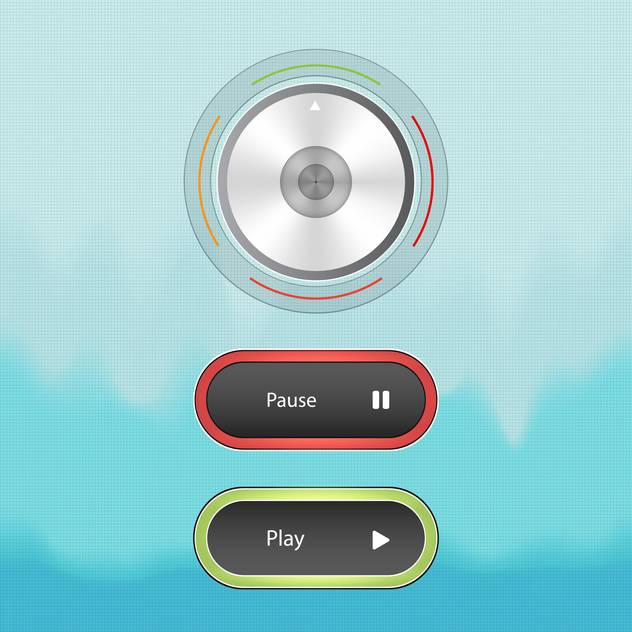 Sound control knob and buttons on blue background - Free vector #131043