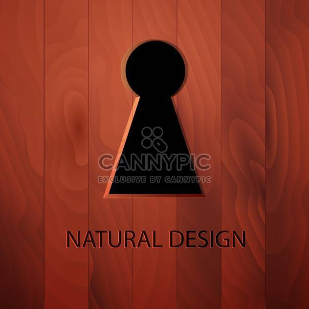 Keyhole in a wooden door vector illustration - Free vector #131143