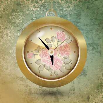 Floral design of clock vector illustration - бесплатный vector #131183