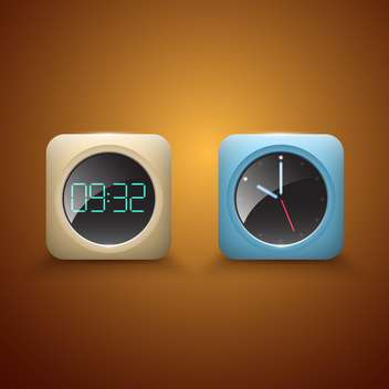 Different clocks vector icons on brown background - бесплатный vector #131203