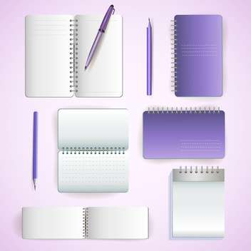 Set of note paper on violet background - vector #131333 gratis