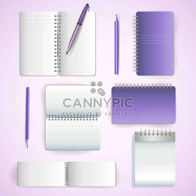 Set of note paper on violet background - Free vector #131333
