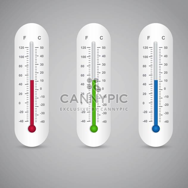 Three thermometers vector set on grey background - Free vector #131383