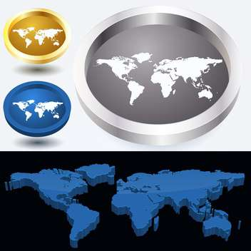 Web buttons with world map vector illustration - vector gratuit #131493