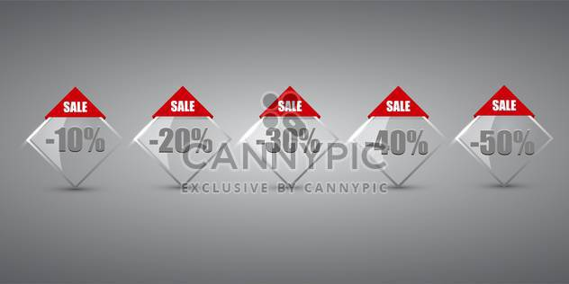 Set of sale labels on grey background - Free vector #131553