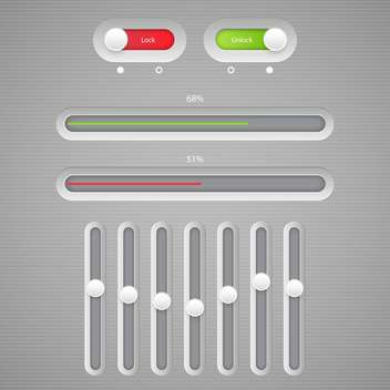 Multimedia buttons grey interface - vector #131623 gratis