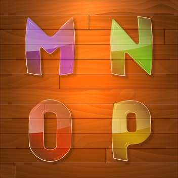 Colorful glass vector font on wooden background - vector gratuit #131663