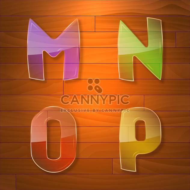 Colorful glass vector font on wooden background - Free vector #131663