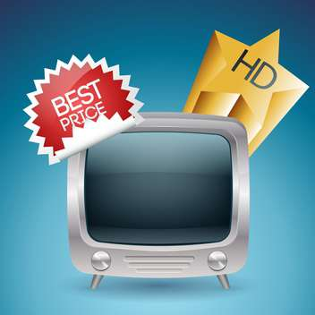 Tv set with best price label vector - бесплатный vector #131763