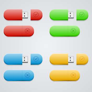Universal flash drive icons set - vector gratuit #131913