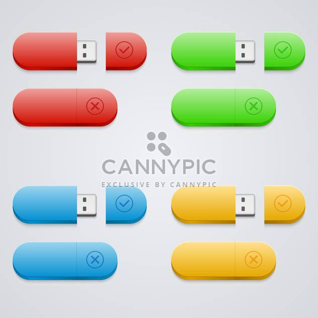 Universal flash drive icons set - Free vector #131913