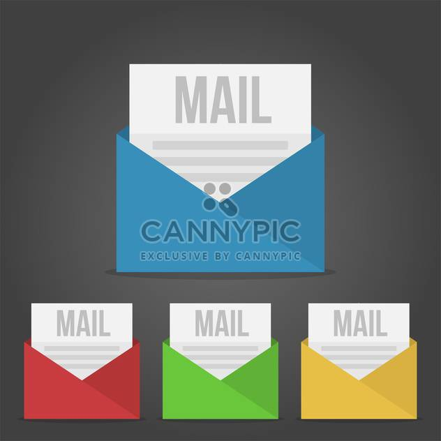 Set of four E-mail icons on black background - Free vector #131923