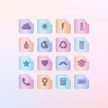 Set of different menu icons on gradient background - Free vector #131933