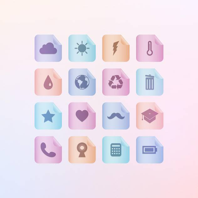 Set of different menu icons on gradient background - бесплатный vector #131933