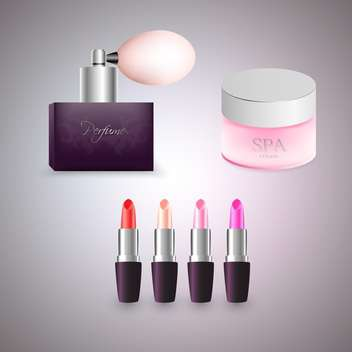 Perfume, cream and lipsticks vector illustration on grey background - Free vector #131943