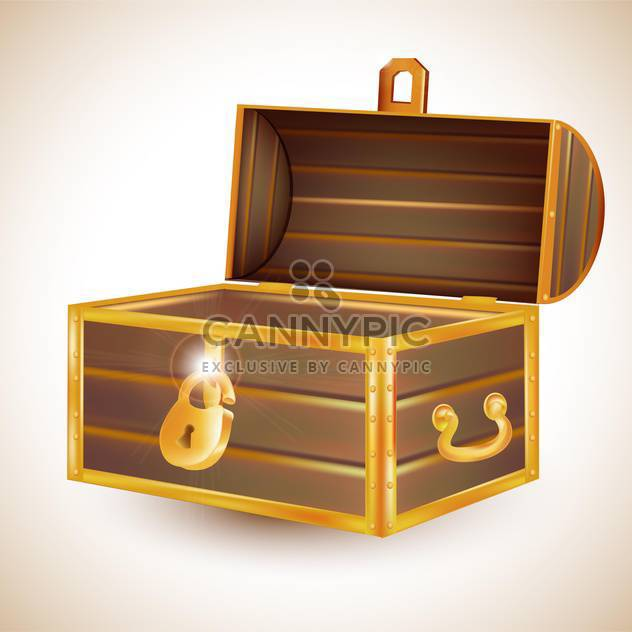 Open empty vintage wooden chest on light background - Free vector #131963