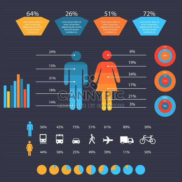 Infographics vector illustration of human transportation - Free vector #131993