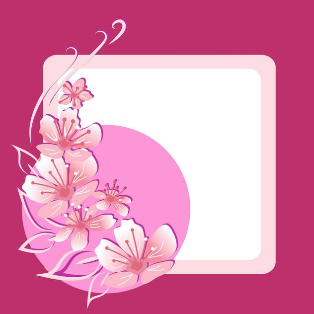 Vector floral frame on pink background - vector #132073 gratis
