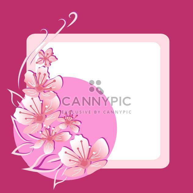Vector floral frame on pink background - Free vector #132073